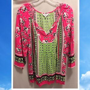 Size 1X Crown & Ivy Top Bright Colorful